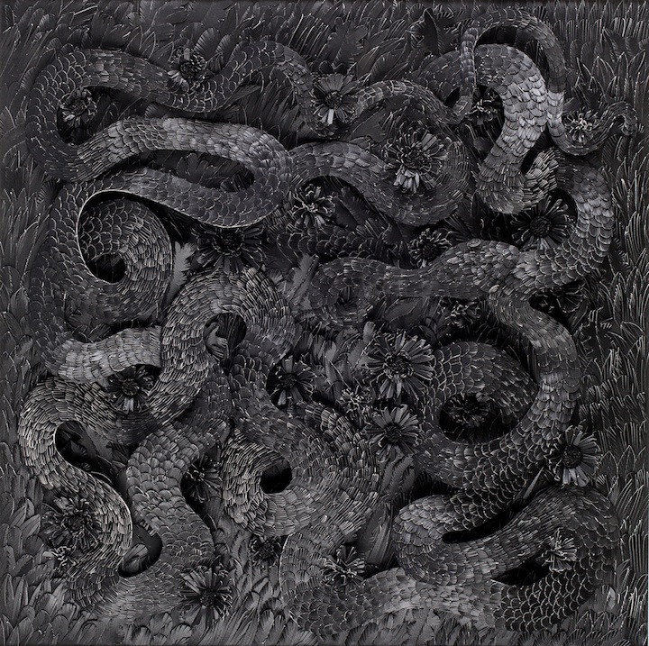 Michael Velliquette; The Serpent of Dark Matter, 2014; paper and acrylic; 36 x 36 x 3 in.