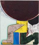 Erik Schoonebeek; Atlas, 2013; oil and collage on canvas mounted on board; 27 1/8 x 25 in.