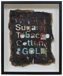 Sugar, Tobacco, Cotton & Gold, 2019. mixed media on reclaimed paper, enamel, hemp thread, acrylic. 22 x 18 inches.