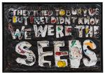 They Thought They Could Bury Us But They Didn't Know We Were the Seeds, 2019. mixed media on reclaimed paper, enamel, hemp thread, acrylic. 57 x 83 inches.