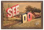 Wayne White; SEE DO, 2013; acrylic on offset lithograph; 26.75 x 39 in.